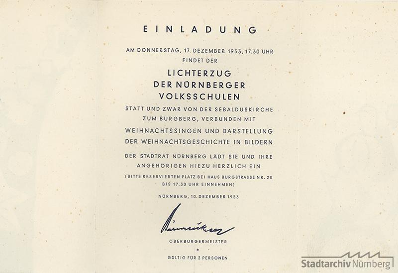 Innenseite der Einladungskarte zum Lichterzug 1953. Quelle Stadtarchiv Nürnberg