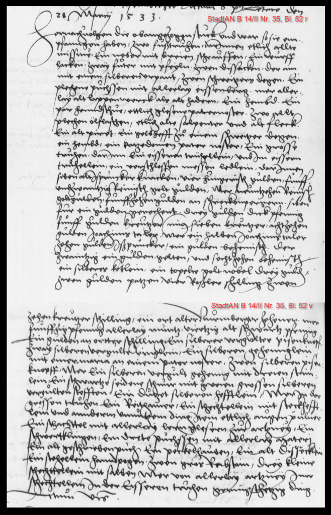 Eintrag des Nachlassinventars im Stadtgerichtsbuch von 1533 (StadtAN B 14/II Nr. 35 Bl. 52r -53v)