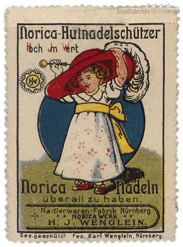 Werbemarke der Noricawerke H. J. Wenglein, Stadtarchiv Nürnberg A 29 Nr. 33/19