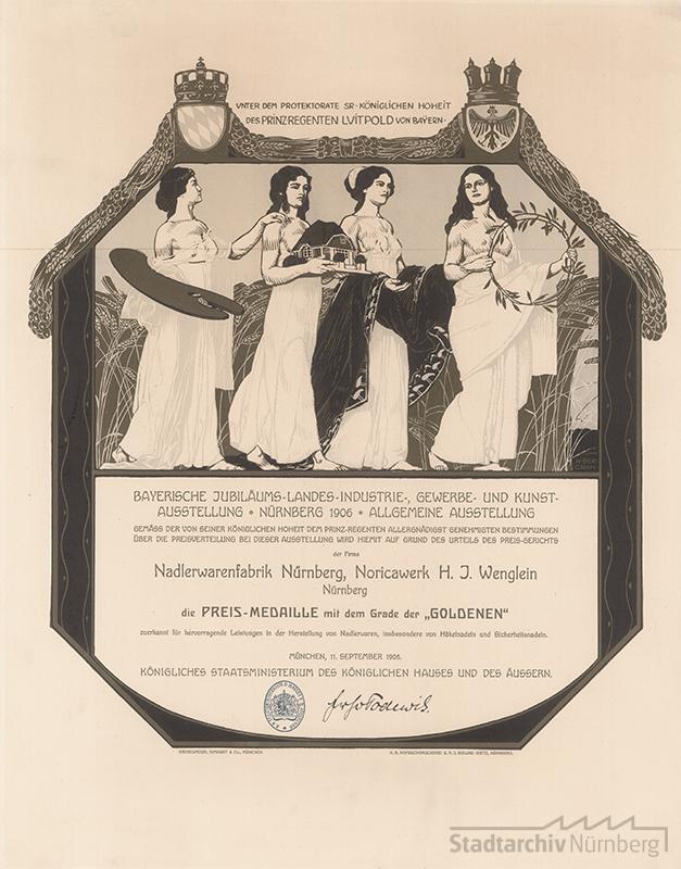 Diplom an die Noricawerke H. J. Wenglein, Stadtarchiv Nürnberg A 3 Nr. 135