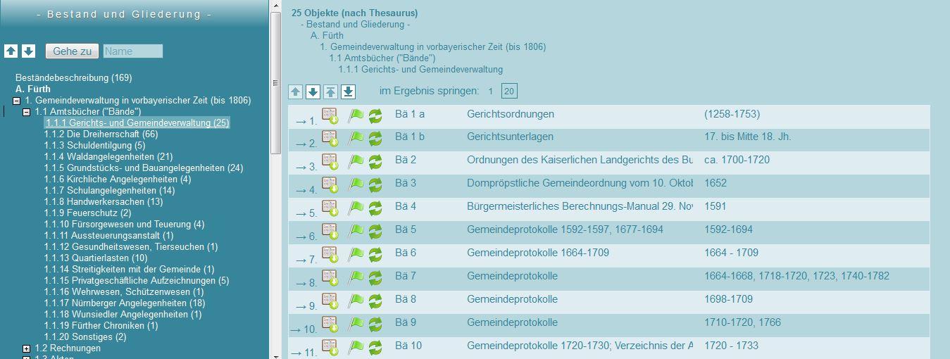 Bestände und Gliederung in der Onlinerecherche des Stadtarchivs Fürth