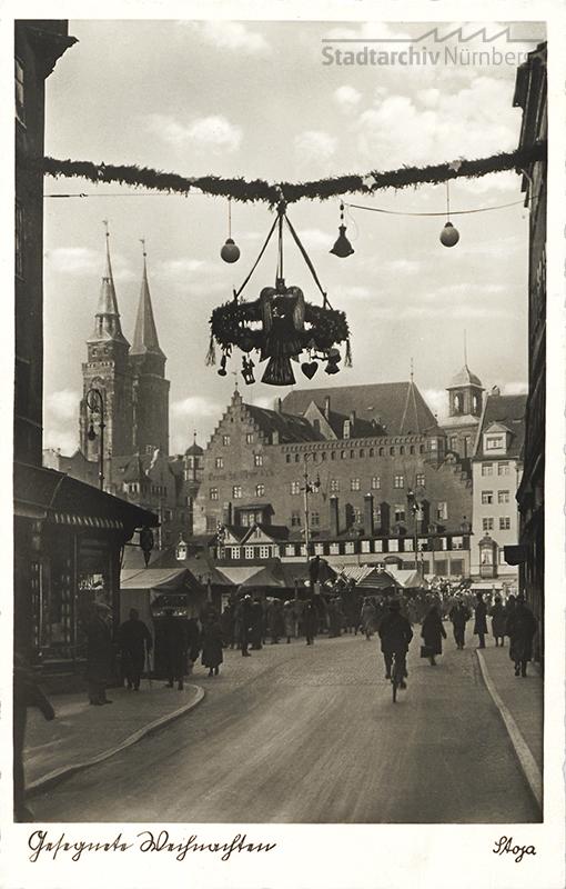 Der Nürnberger Christkindlesmarkt im Jahr 1938 (Postkarte)