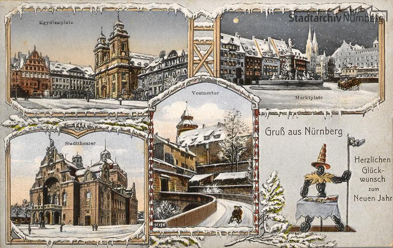 Die um 1912 verlegte Postkarte zeigt bekannte Motive aus dem verschneiten Nürnberg. Ein Zwetschgenmännla sendet einen Herzlichen Glückwunsch zum neuen Jahr. Quelle Stadtarchiv Nürnberg