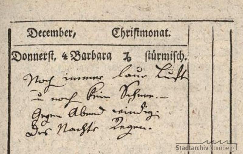 Auszug aus dem Schreibalmanach von Johann Friedrich Sigmund von Praun, 1823. (Stadtarchiv Nürnberg E 28 Nr. 376)