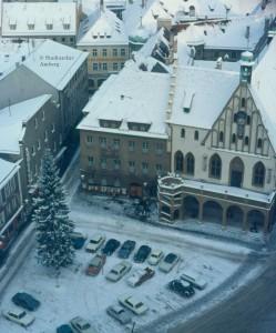 Marktplatz vom Turm im Schnee, 1968