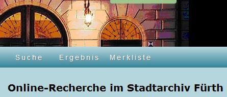 Onlinerecherche Stadtarchiv Fürth