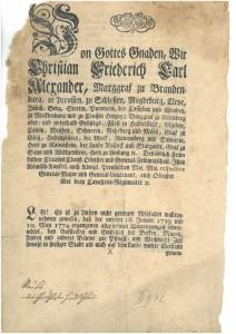 Markgräfliche Verordnung gegen das Aufstellen von Pfingst- und Weihnachtsbäumen, U 1789 VII 9