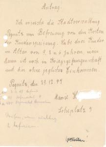 Nachkriegszeit: Marie H., die Frau eines Kriegsgefangenen, bittet am 29. Dezember 1947 um die Befreiung von den Kosten der Kinderspeisung (Stadtarchiv Pegnitz)