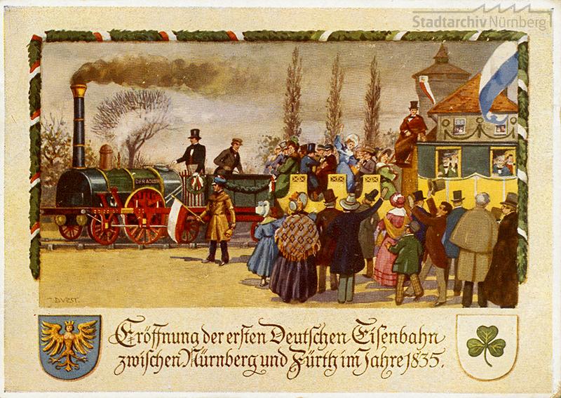Postkarte von der Eröffnung der ersten Deutschen Eisenbahn zum 100jährigen Jubiläum 1935 (Stadtarchiv Nürnberg A 5 Nr. 2077)