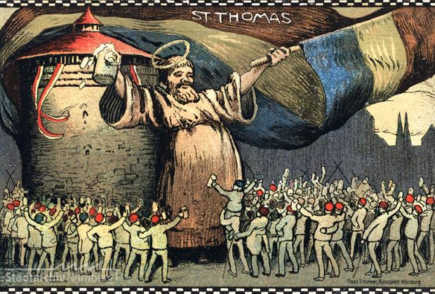 Postkarte. Farbdruck des Heiligen Thomas zu seinem Ehrentage 1907