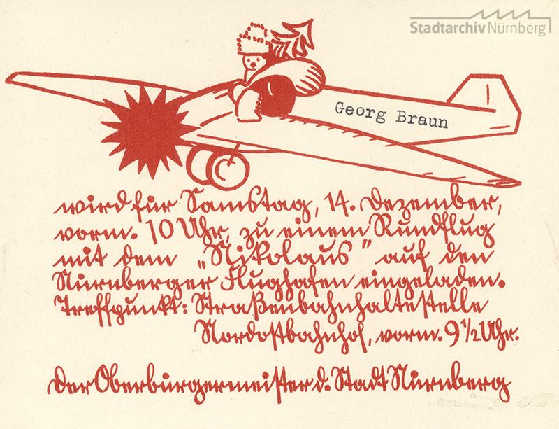 Einladungskarte zum Nikolausrundflug 1935