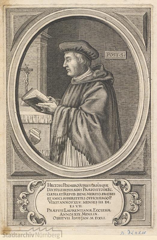 Hector Pömer (gest. 1541), Kupferstich von Andreas Khol um 1650 (Stadtarchiv Nürnberg E 17/II Nr. 2218)