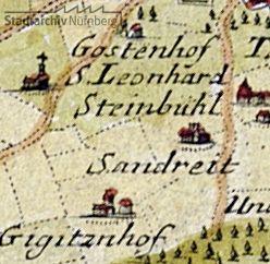 """Ausschnitt aus einer Karte von Gabriel Bodenehr d. Ä. """"Nürnberg mit dero Gegend"""" von 1750"""