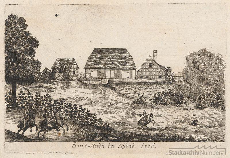 Ansicht des Gutes Sandreuth auf einem Kupferstich von Johann Alexander Boener 1706 (Reitergefecht bei Dandreuth) (Stadtarchiv Nürnberg E 13/II Nr. 234)