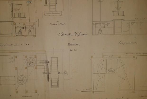 Technischer Plan: Wasserrad für Schmidt in Weißmain (1853)
