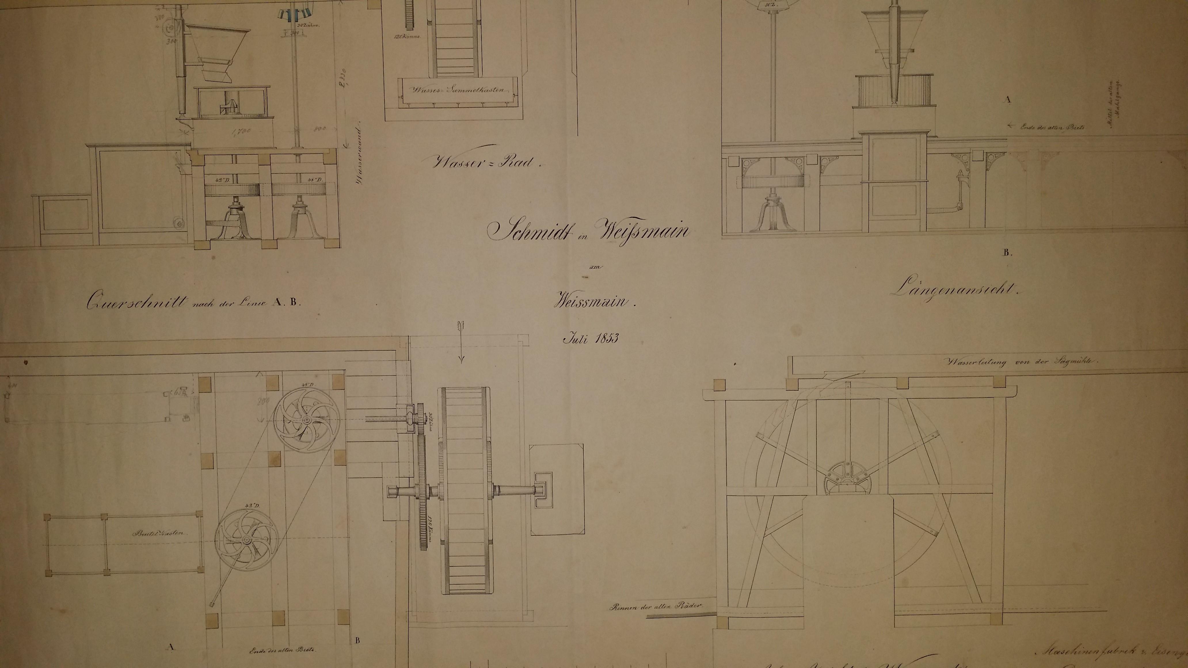 Technischer Plan: Wasserrad für Firma Schmidt in Weißmain (StadtA Lauf, o. Sig.)