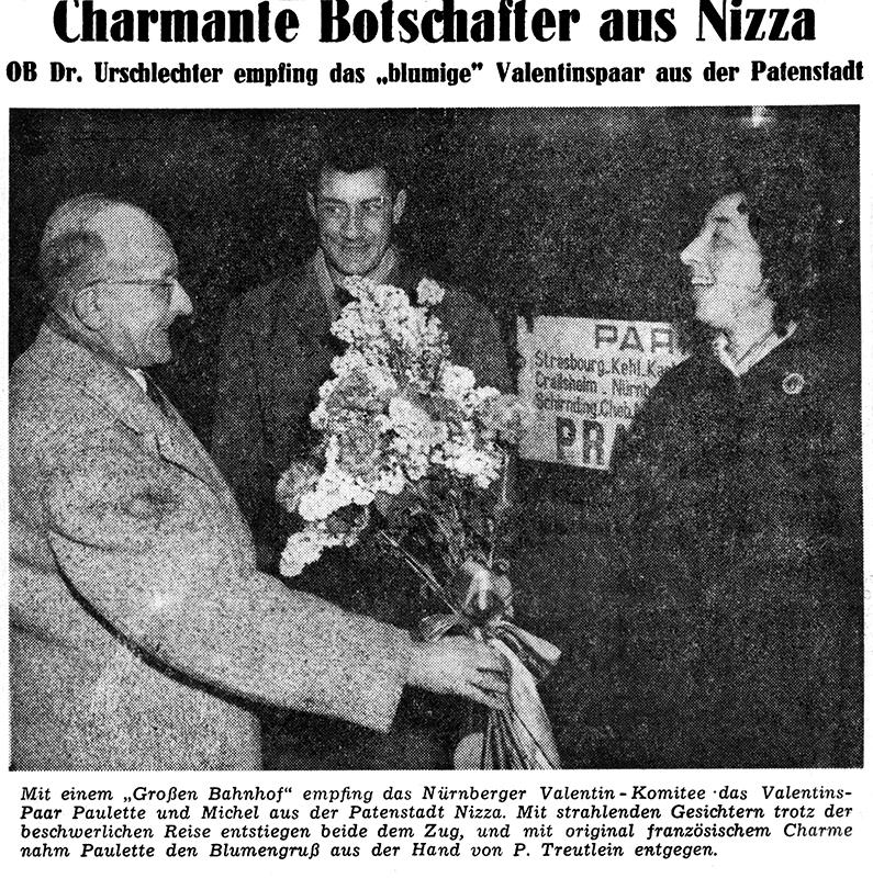 Das Valentins-Paar aus Nizza wird von Peter Treutlein begrüßt