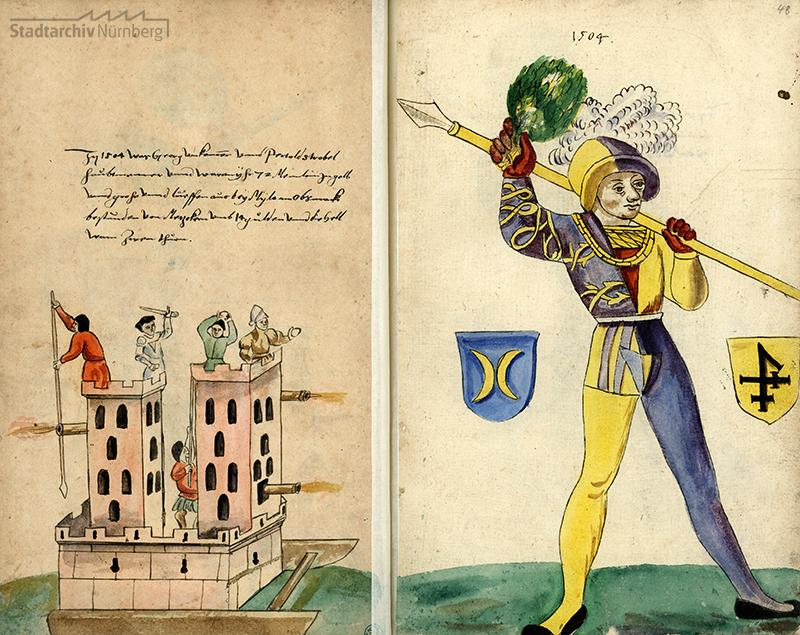 Läufer (mit Wappen der beiden Schembarthauptleute) und Hölle des Schembartlaufs 1504