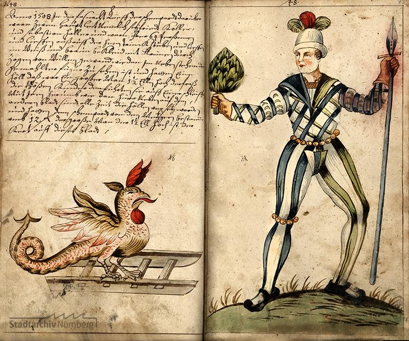 Schembartlauf 1508, irrtümlich mit der Hölle des Laufs 1507