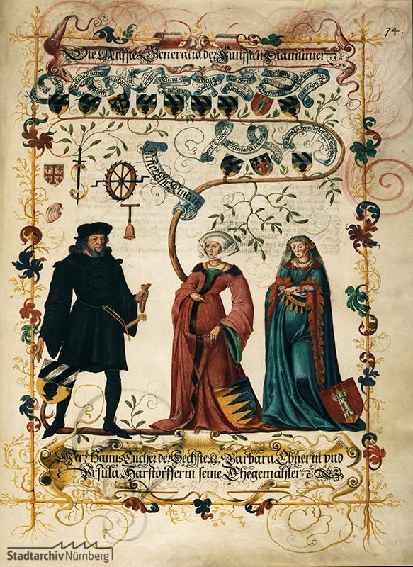 Die Miniatur aus dem Großen Tucherbuch (um 1590) zeigt Hans VI. Tucher mit seinen beiden Frauen Barbara, geb. Ebner, und Ursula, geb. Harsdörffer