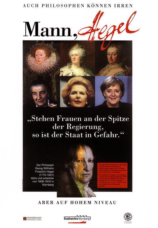 Plakat zu den städtischen Jubiläumsveranstaltungen zum 200. Jahrestag der Ankunft Hegels in Nürnberg 1808, 2008. (Stadtarchiv Nürnberg A 28 Nr. 2008/146 Format II)