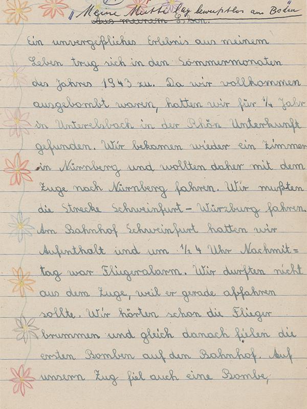 Schulaufsatz von 1943, Teil 1 (Stadtarchiv Nürnberg E 10/1 Nr. 32)