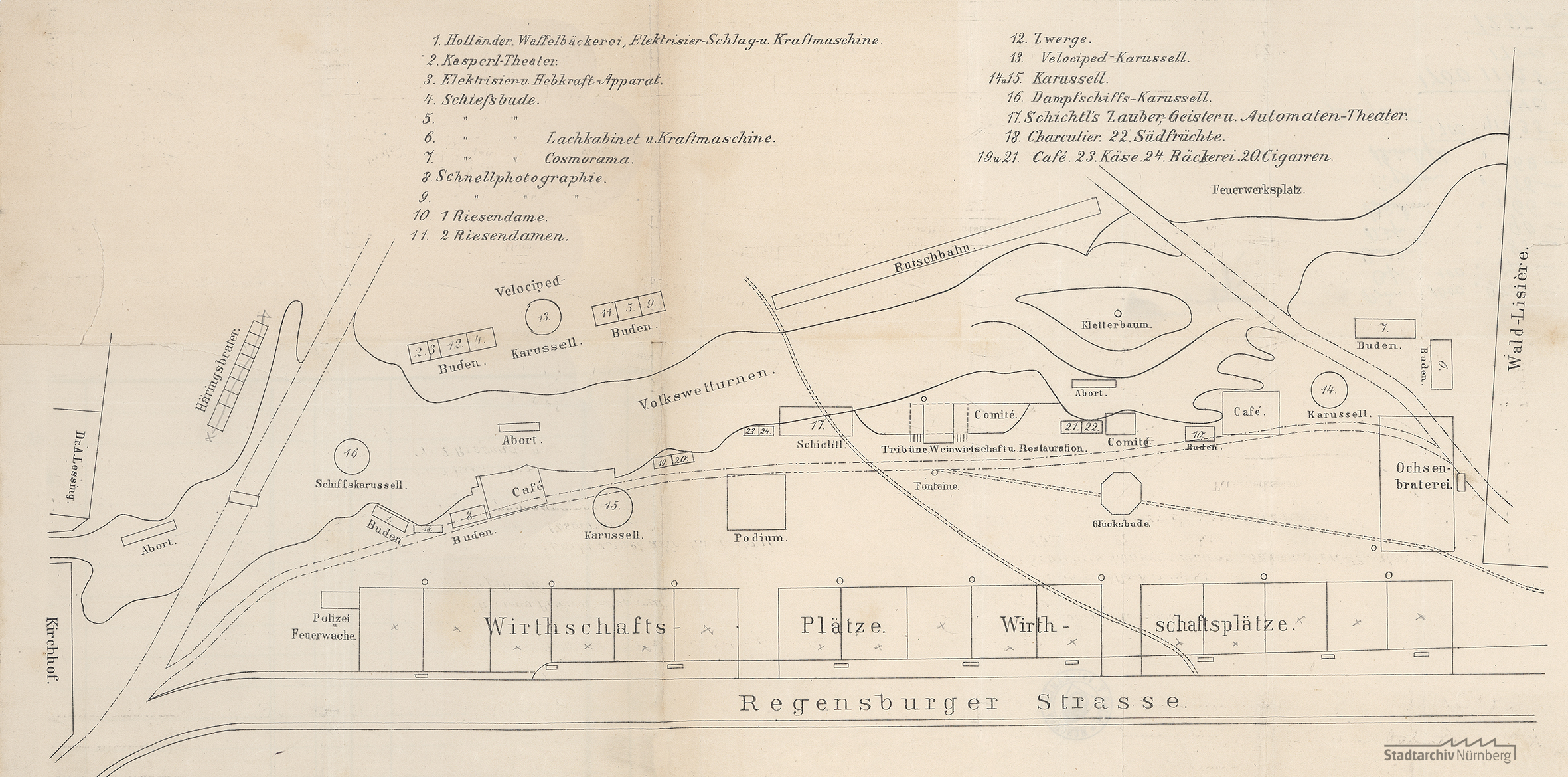 Lageplan vom Volksfest am Ludwigsfeld (Stadtarchiv Nürnberg A 25 Nr. 642)