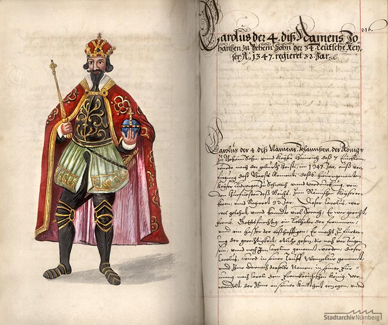 Kaiser Karl IV. Eintrag in einer Nürnberger Chronik des 17. Jahrhunderts (Stadtarchiv Nürnberg F 1 Nr. 132, fol. 215v-216r)