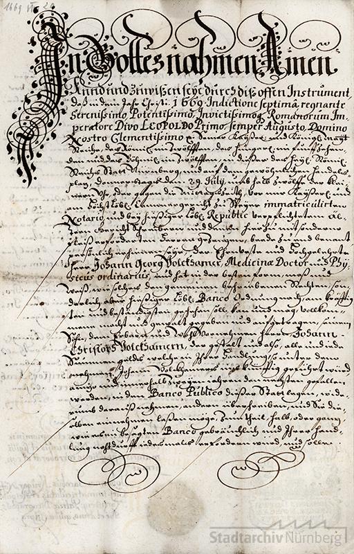 Prokuraerteilung und Bankvollmacht Johann Georg Volkamers für seinen Sohn Johann Christoph