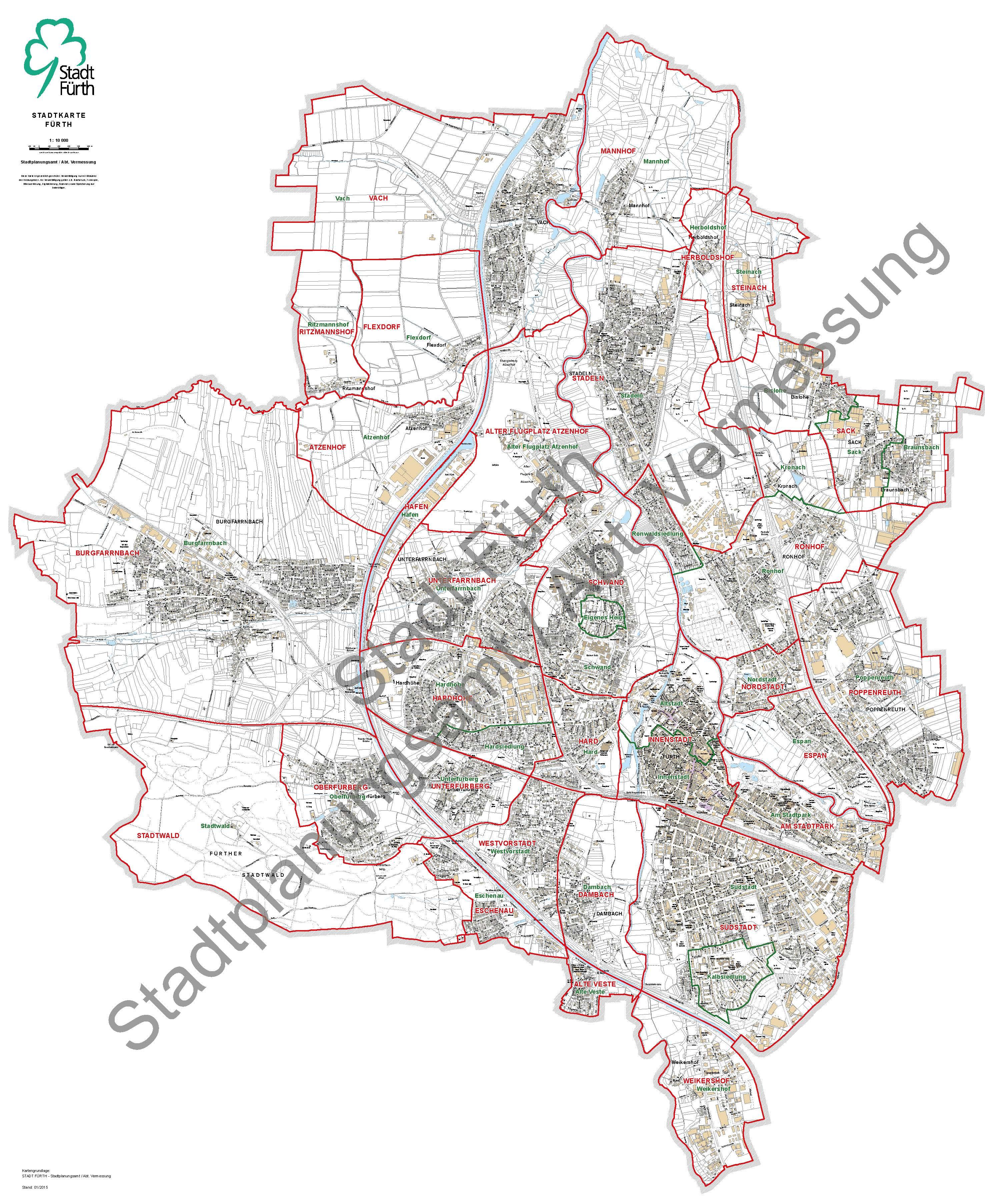 Stadtteilgrenzen Fürth - Stand 2016-02-08 mit Wasserzeichen zur Veröffentlichung