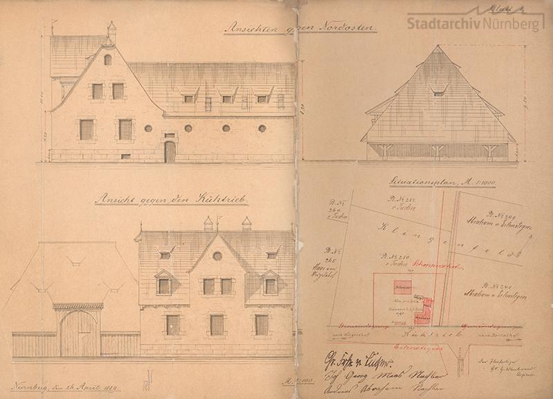 Bauzeichnungen der Schwedenscheune und des Wohnhauses, Lageplan Klingenfeld 1889
