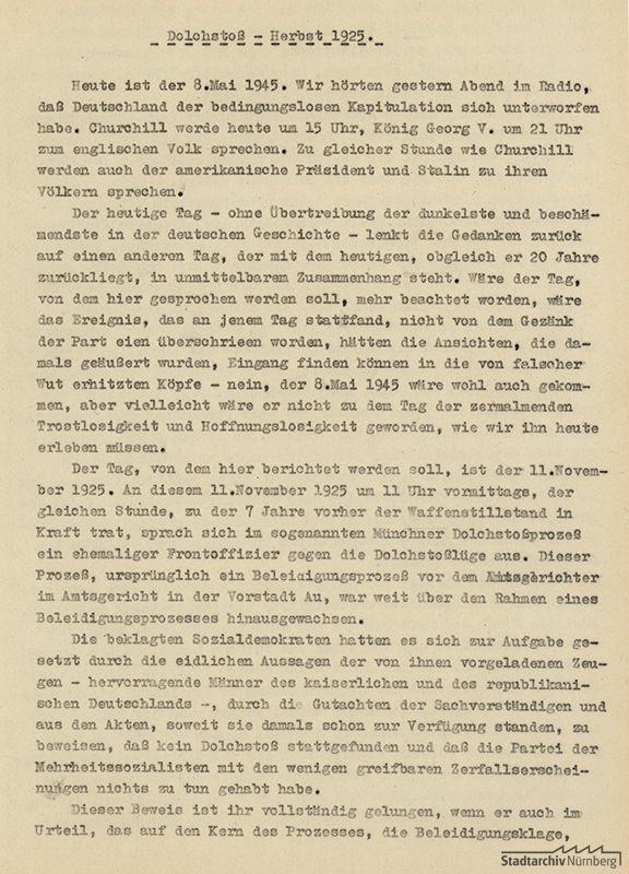 Bericht Ludwig Ritter von Rudolphs zum Prozesstag 11. November 1925 im Dolchstoßprozess (19. Oktober – 20. November 1925), verfasst am Tag der Kapitulation im Zweiten Weltkrieg, 8. Mai 1945