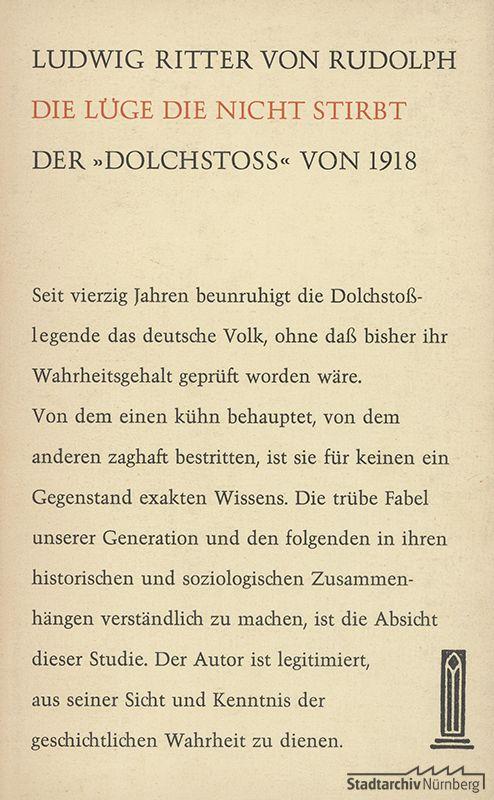 """Umschlagseite von Ludwig Ritter von Rudolphs Buch """"Die Lüge, die nicht stirbt – Die """"Dolchstoßlegende"""" von 1918, Verlag Glock und Lutz"""