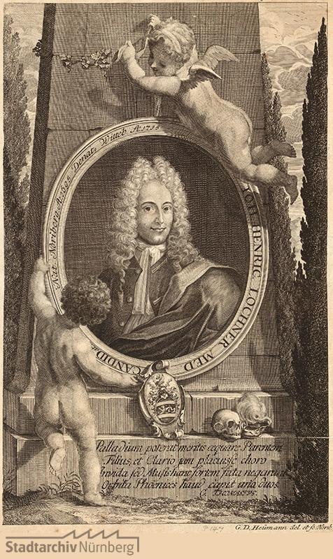 Porträt des Johann Heinrich Lochner, Kandidat der Medizin; geb. 1695; gest. 1715. Kupferstich von Georg Daniel Heumann 1715. Stadtarchiv Nürnberg A 7/I Nr. 1747.