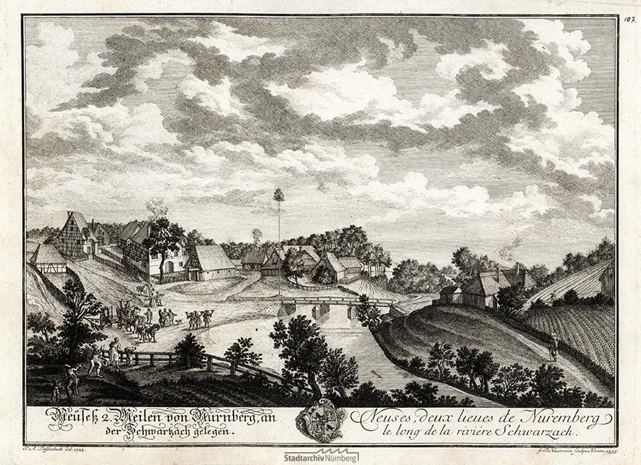 Neuses an der Schwarzach, gezeichnet 1723 von Johann Adam Delsenbach. Kupferstich von Georg Daniel Heumann 1755. Stadtarchiv Nürnberg E 21 Nr. 298/116.