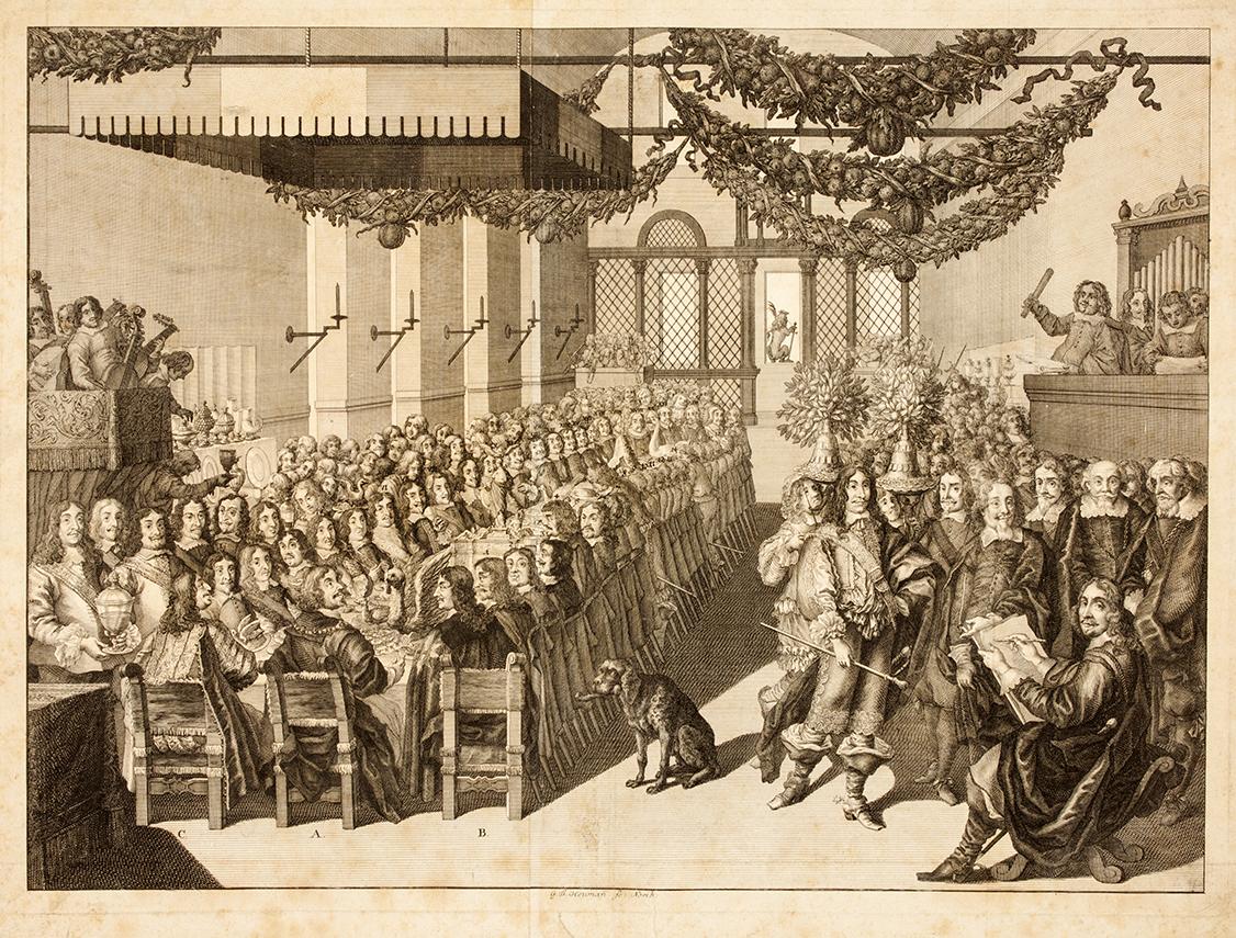 Georg Daniel Heumann nach Joachim von Sandrart d.Ä., Das Friedensmahl im Nürnberger Rathaus 1649, Kupferstich, 1736. Kunstsammlungen der Stadt Nürnberg, Inventar-Nr. Gr.A. Gr.A. 12090.