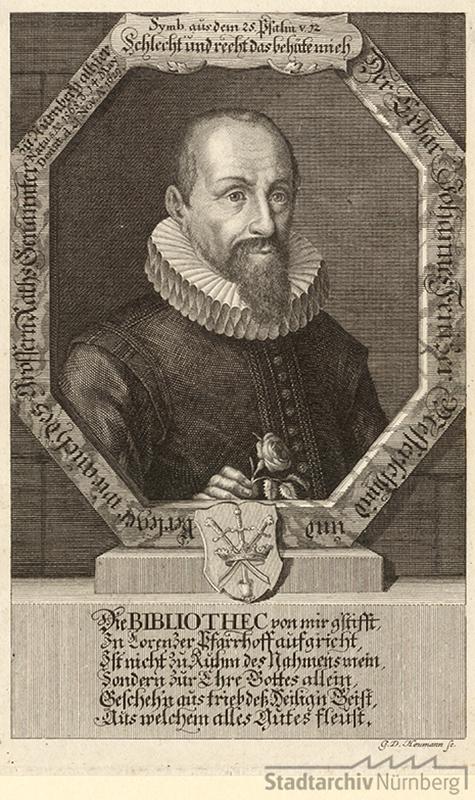 Porträt des Johann Fenitzer, Messerschmied und Verleger, Genannter; geb. 14. Mai 1565; gest. 21. November 1629, Kupferstich von Georg Daniel Heumann 1710. Stadtarchiv Nürnberg E17/II Nr. 689.
