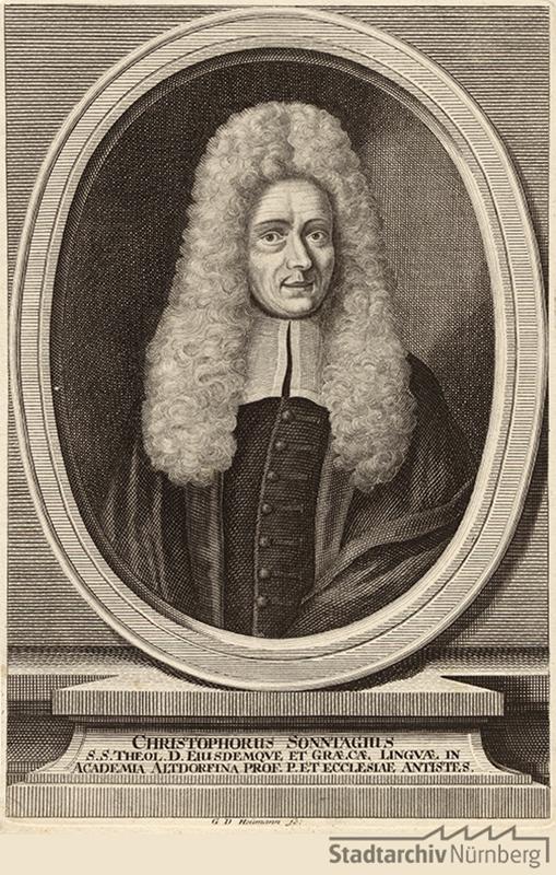 Porträt des Christoph Sonntag, Professor für Theologie und Griechisch in Altdorf. Kupferstich von Georg Daniel Heumann 1715. Stadtarchiv Nürnberg E 17/II Nr. 2767.