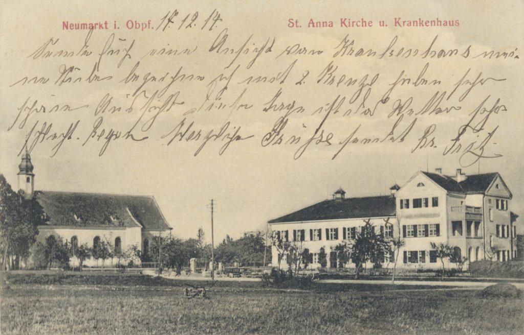 Karte des Landsturmmanns Fritz Siems mit Ansicht des Neumarkter Krankenhauses 1914 Stadtarchiv Neumarkt, Kartensammlung PK 418
