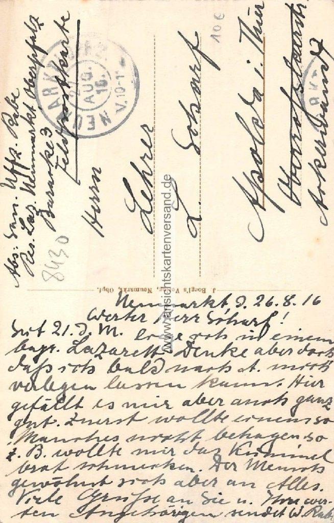 Feldpostkarte des Sanitätsunteroffiziers Rebl, geschrieben am 26. August 1916