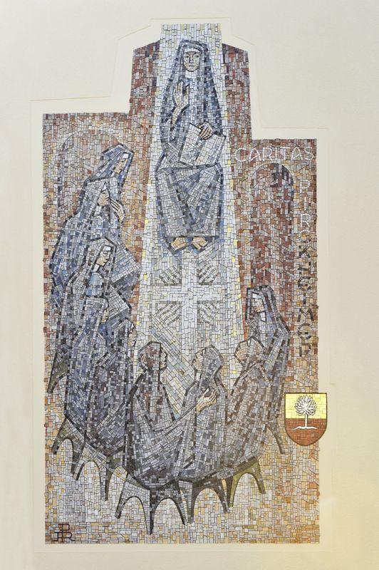 Mosaik der Caritas Pirckheimer am Haus Von-Soden-Straße 27 in Nürnberg-Fischbach. Fotografie Julia Kraus 2011.