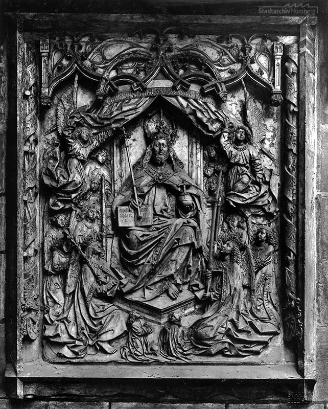 Epitaph des Kunz Horn an der äußeren Westwand der Sakristei der Lorenzkirche