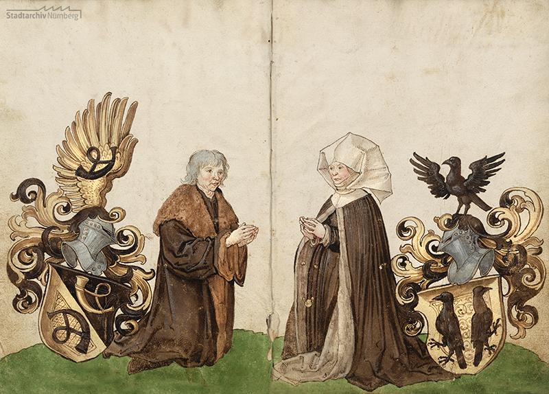 Bildnis des Ehepaares Kunz und Barbara Horn mit Wappen Horn und Krell