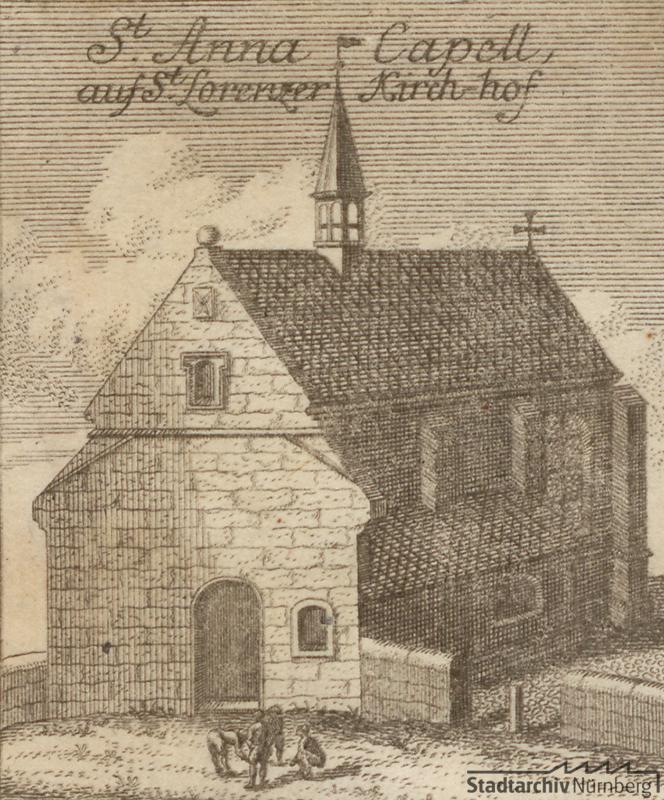 Radierung St. Anna-Kapelle bei St. Lorenz