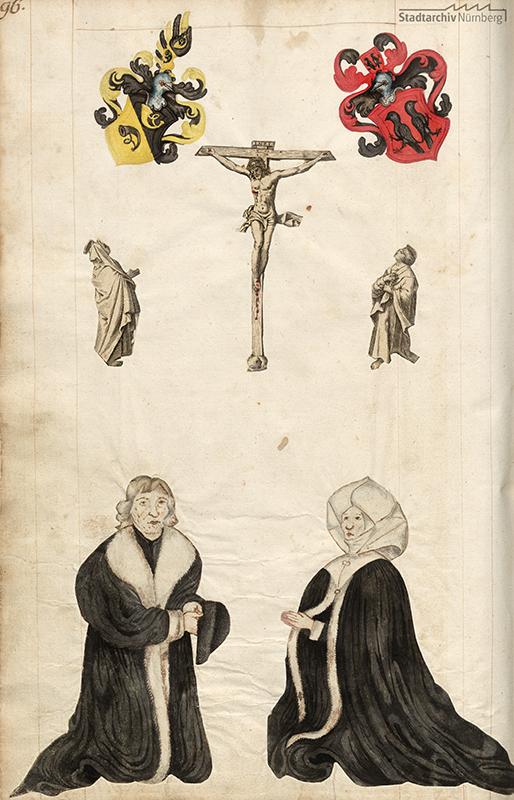 Kunz Horn und seine Frau Barbara, Stifterbild mit Wappen, Christus am Kreuz mit Maria und Johannes