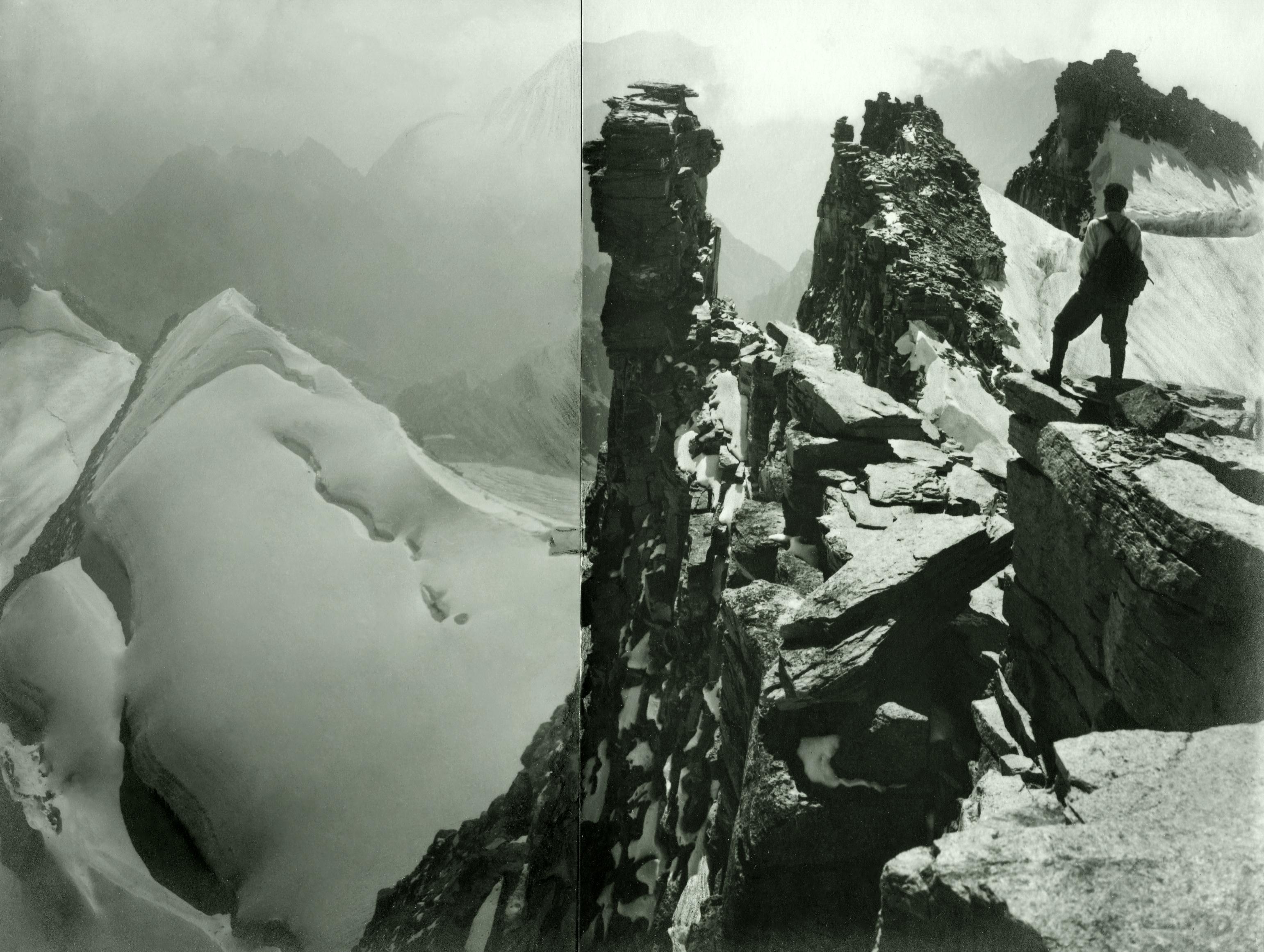 Vom Gran Paradiso gegen Südosten, auf den Felsklippen Alfred Cohn. Montage aus zwei Aufnahmen. September 1928.