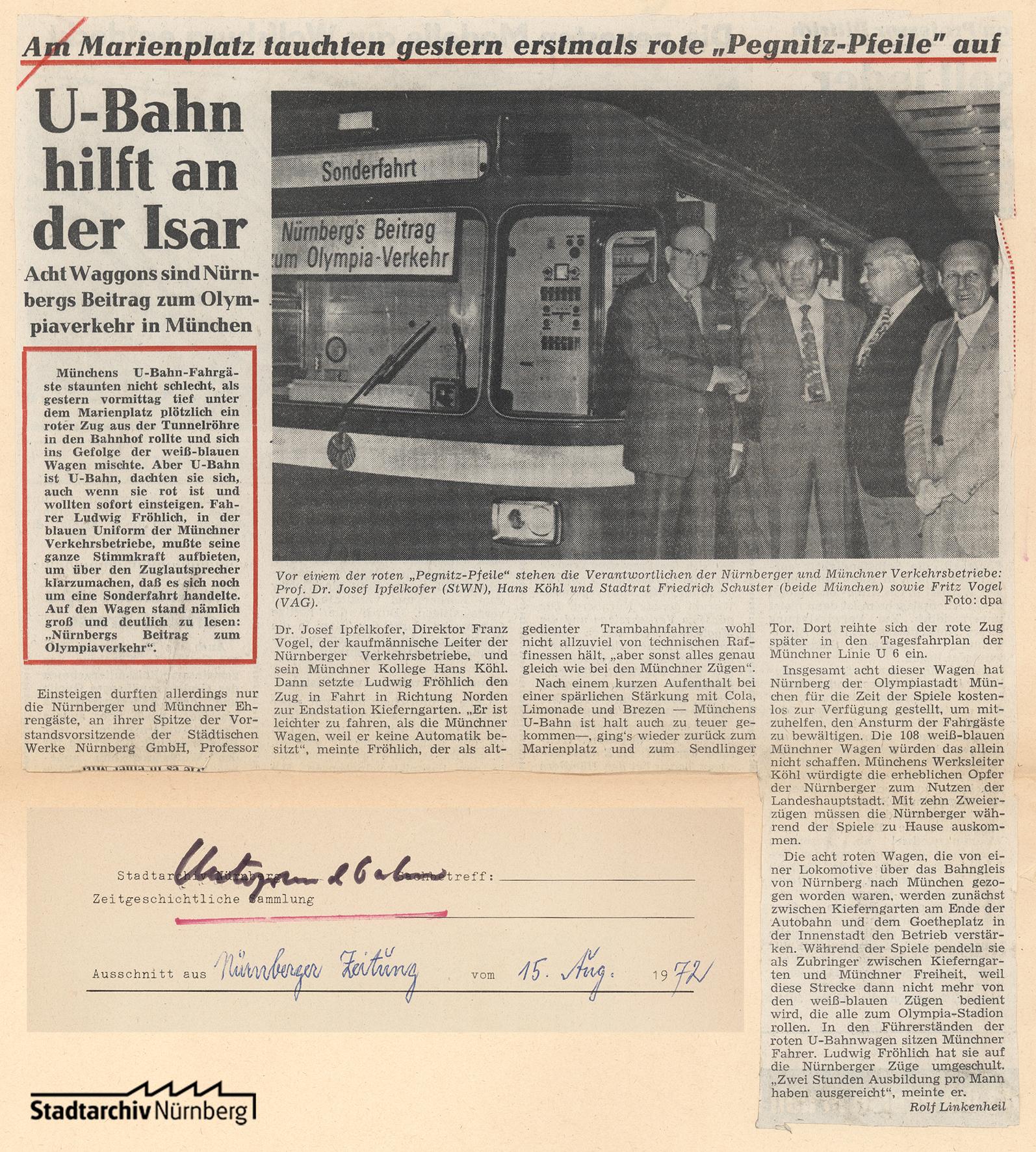 Zeitungsbericht über den Einsatz Nürnberger U-Bahnwaggons in München anlässlich der Olympiade 1972. Quelle: Stadtarchiv Nürnberg F 7/I Nr. 1139