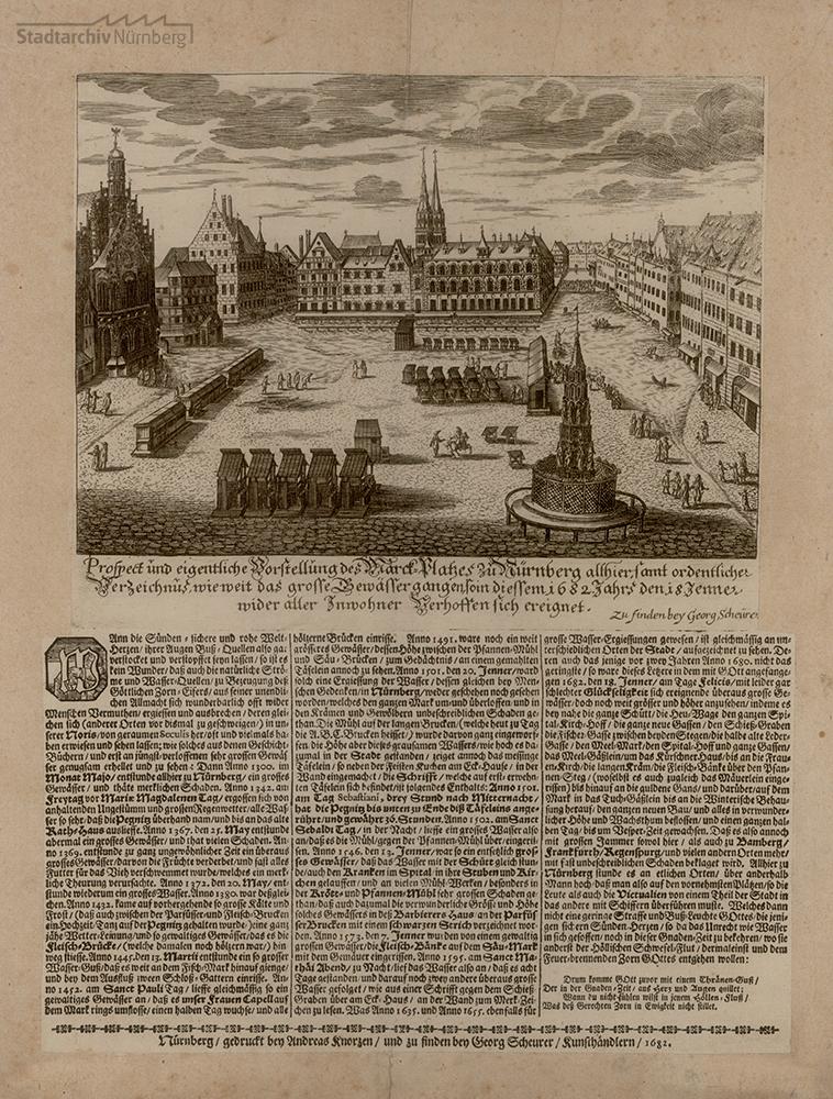 Mischtechnik & Typendruck auf einem Blatt 28,7 x 37,5 cm. Druck von Andreas Knorz, Verleger: Georg Scheurer. Nürnberg 1682. Stadtarchiv Nürnberg A 7/II Nr. 376.