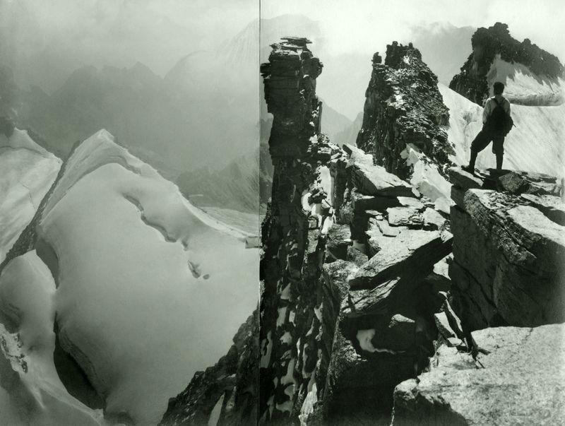 Vom Gran Paradiso gegen Südosten, im Vordergrund Alfred Cohn auf den Felsklippen. Sommer 1928