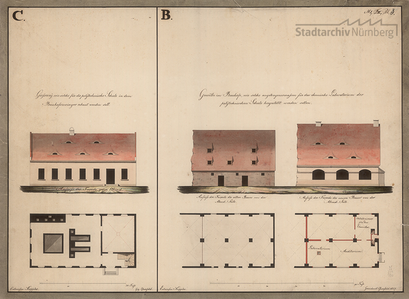 Ansicht der Westseite und des Grundrisses der im Bauhofzwinger zu errichtenden Gießerei und Ansichten der Westseite und Grundrisse des Vorgängerbaus und des Neubaus für das chemische Laboratorium im Bauhof